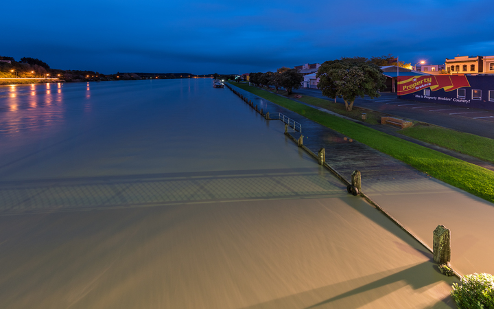 The Whanganui River at its peak on Thursday morning