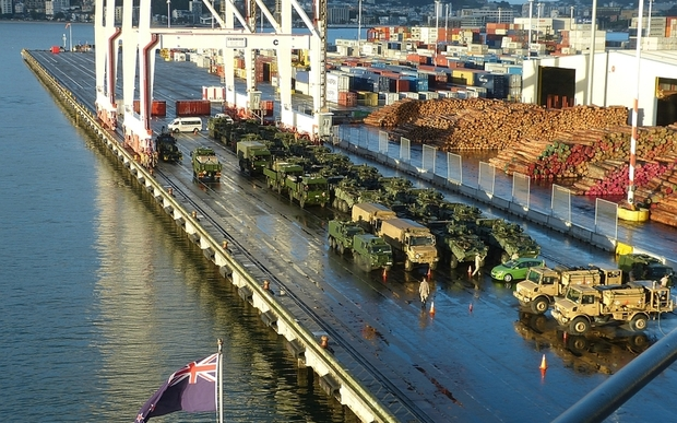 An overview of the NZDF contingent before loading in Wellington.