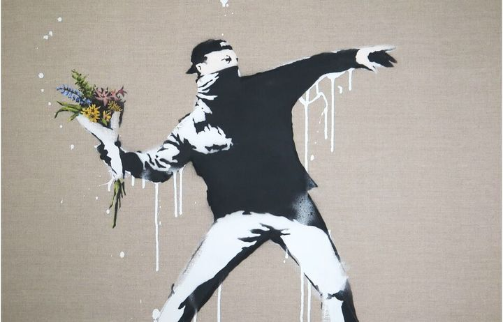 """Rage, The Flower Thrower"" (2003) Banksy"