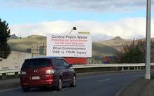 The billboard Angus Robson erected in Christchurch protesting the Central Plains Water irrigation scheme