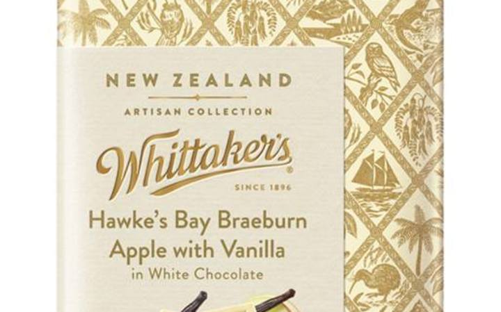 Whittaker's Hawke's Bay Braeburn Apple with Heilala Vanilla in 28% cocoa White Chocolate, from their artisan range