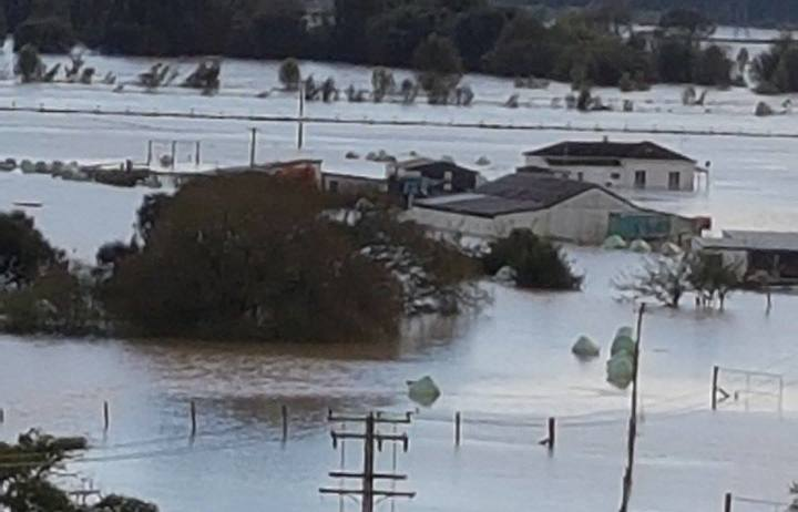 Bruce Fowl's farm near Whakatane, under floodwaters.