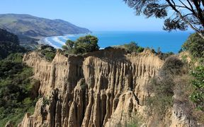 The Cathedral Cliffs at Gore Bay in the Hurunui district.
