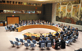 The United Nations Security Council holds a meeting addressing the conflict in Syria at the UN's New York City headquarters.