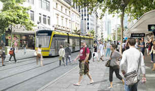 An artists' visualisation for Auckland Transport of light rail in the city.