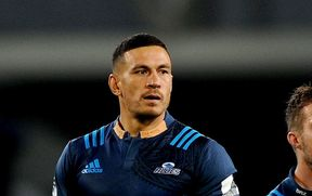 Sonny-Bill Williams looks on, during the Super Rugby match between the Highlanders and the Blues, Forsyth Barr Stadium, Dunedin, 8th of April 2017.