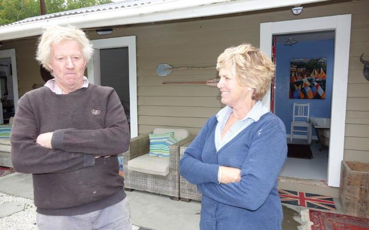 Vicki and Bob Todhunter outside the shearing shed they've made into a new home after the November 2016 earthquake.