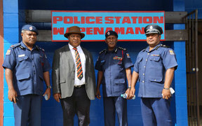 Assistant Commissioner of Police for Logistic Tony Duwang, Foreign Affairs Minister Rimbink Pato, Police Commissioner Gari Baki and Enga Provincial Police Commander  George Kakas in front of the new  Wapenamanda  police station (left to right). Picture by Police Media Unit.