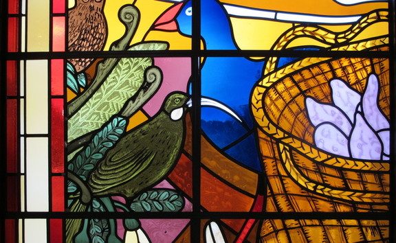 Holy Trinity Anglican Cathedral in Auckland - detail of stained glass window designed by Nigel Brown