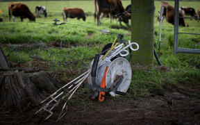 Fencing equipment on an organic farm in the Manawatu.
