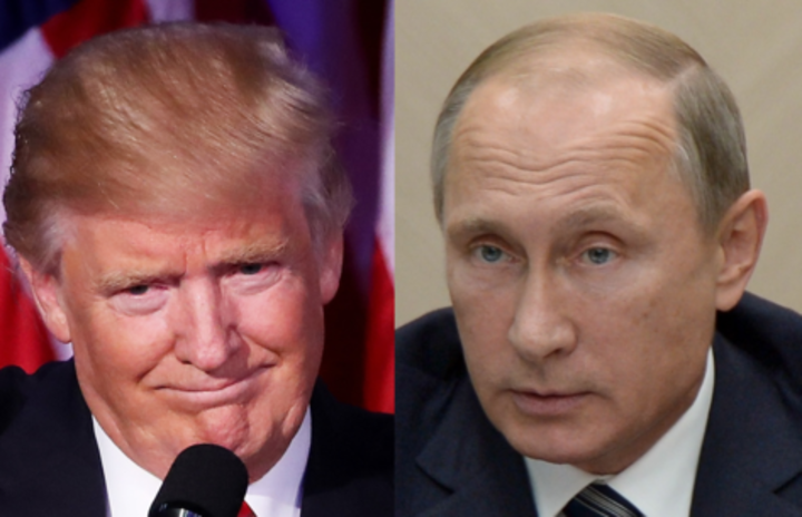 Left to right: Rex Tillerson, Donald Trump, Vladimir Putin