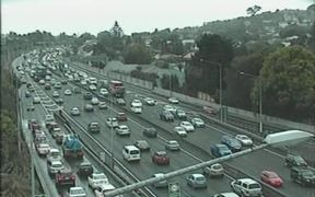 The traffic on State Highway 1 at Greenlane was already building at 1pm.