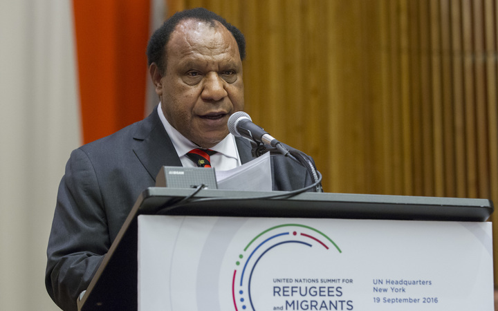 Rimbink Pato, Minister for Foreign Affairs of Papua New Guinea of the Independent State of Papua New Guinea, addresses the United Nations high-level summit on large movements of refugees and migrants.  Sep 2016