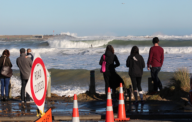 The waves closed the road between the eastern end of Lyall Bay to Moa Point Road.