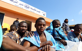Some of the African migrants who were rescued.