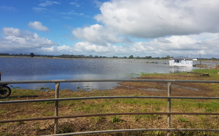 Waitoa river is in flood following Cyclone Cook.