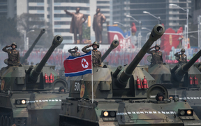 Troops and military hardware were paraded in Pyongyang.
