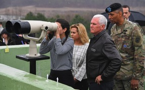 Mike Pence (second right) visits Observation Post Ouellette with his daughters near the truce village of Panmunjom in the Demilitarized Zone.
