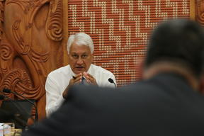 Chair of the Maori Affairs Committee Tutehounuku (Nuk) Korako listens to a coroner about practices surrounding whanau access to tupapaku (deceased).