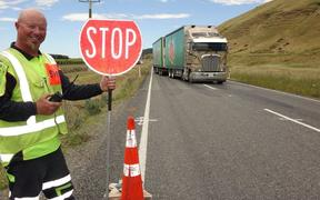 Road worker Gary Tutty is among crews of road workers on a $60 million government plan to upgrade and maintain State Highway 63 through Marlborough and Canterbury.