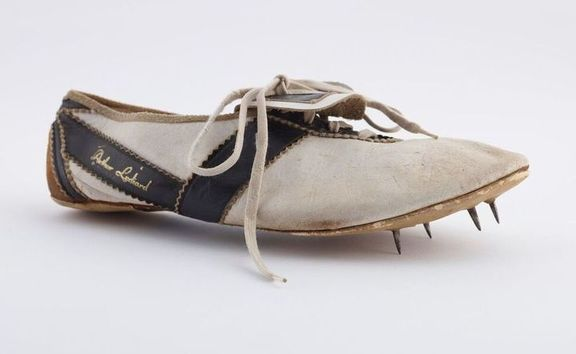 One of the shoes Sir Peter Snell won on his way to gold in the 800m at the Rome Olympics.