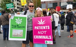 Two of the protesters in favour of legalising medicinal marijuana.