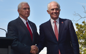 Mike Pence (left) and  Malcolm Turnbull after a joint media conference at the Kirribilli House Sydney on 22 April 2017.