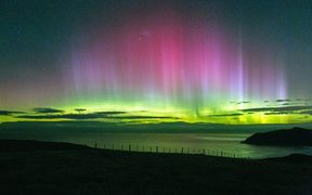 The Aurora Australis near Cape Saunders on the Otago Peninsula.