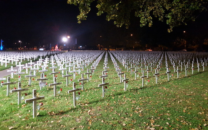 Crosses in Christchurch's Cranmer Square to mark those who died in the two World Wars.