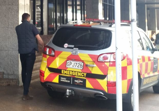 An emergency vehicle outside Auckland District Court today.