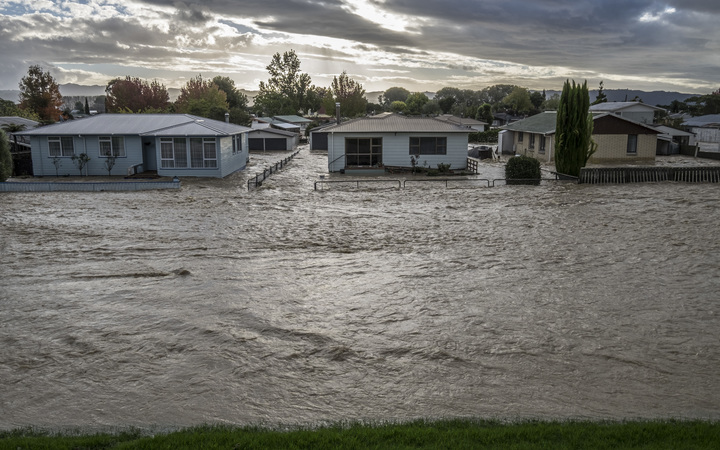 Houses on College Road, opposite the stopbank wall on the river Rangataiki that breached and flooded the majority of the town causing the evacuation of 1600 residents.  Thursday 6 April 2017