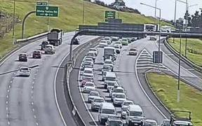Traffic was heading south on the Northern Motorway was backed up after the crash.