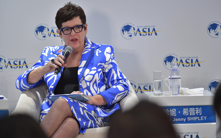 "Dame Jenny Shipley, former Prime Minister of New Zealand, attends the ""Time for Fiscal Policy, Again?"" sub-forum during the Boao Forum for Asia Annual Conference 2017 in Boao, south China's Hainan province, 24 March 2017."
