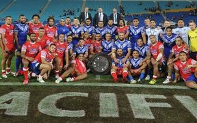 Samoa and Tonga rugby league teams after their Pacific Test.