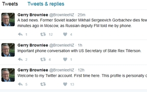 The hoax Gerry Brownlee account set up by Tomasso De Benedetti with the fake news about Mikhail Gorbachev.
