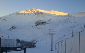 Snow on Mt Hutt, where access to the skifield was cut off to vehicles other than snowmobiles.