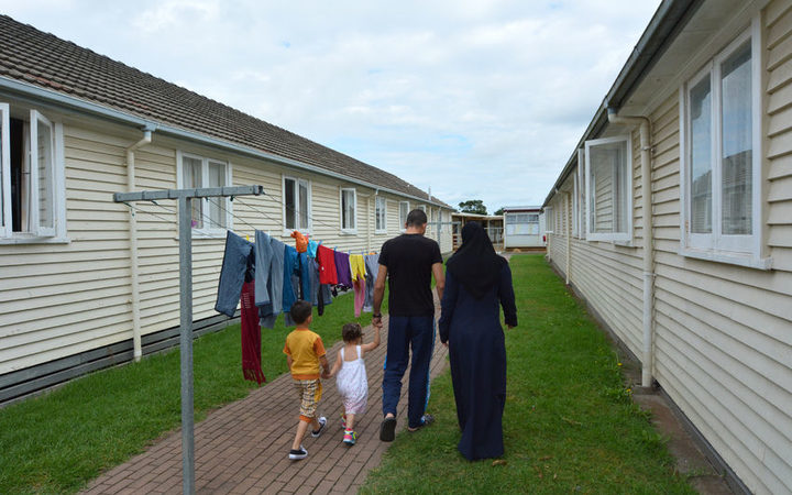 A Syrian refugee family at the Mangere Refugee Resettlement Centre.