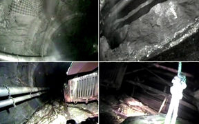 The footage shows a robot and two mine safety workers inside the Pike River Mine, about three months after the deadly 2010 disaster.
