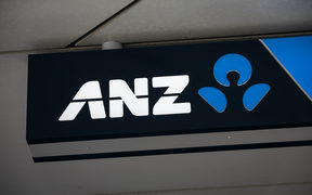 ANZ Bank sign on Queen Street, Auckland.