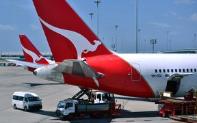 Photo taken on November 17, 2014 shows Qantas planes at Sydney Airport.