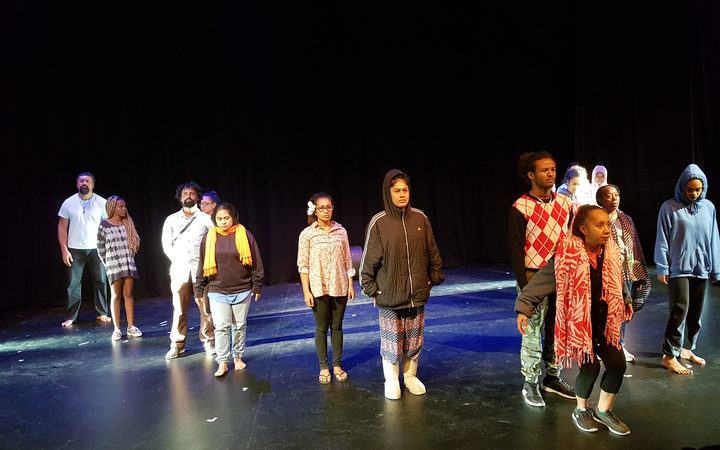 In Transit full cast during rehearsal at the Mangere Arts Centre