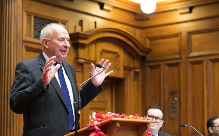 Sir Don McKinnon delivers his lecture  'Dark Clouds Over Democracy' as part of the Commonwealth Parliamentary Association Lecture series, in Wellington, 2 May 2017.