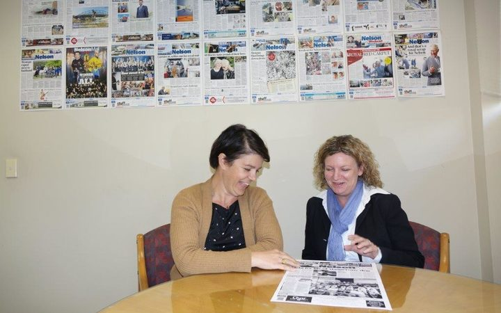 Nelson Mail editor Victoria Guild, right, and chief news director Sally Kidson check the day's front page