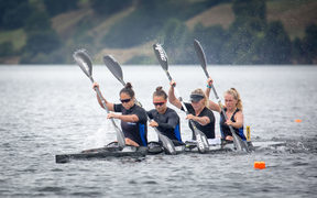 Lisa Carrington second from left has now switched focus to the larger boats for the upcoming ICF World Cup series in Europe.