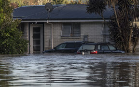 A property in Edgecumbe after the river Rangataiki breached a stopbank and flooded the majority of the town causing the evacuation of 1600 residents.  Thursday 6 April 2017