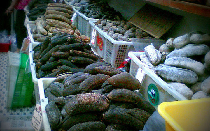 Dried Beche-de-mer at a market