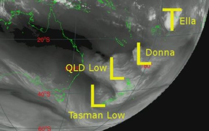 Count 'em 1-2-3-4, a combo of lows. A Tasman low, Queensland low, remnants of Donna and moisture from Tropical Cyclone Ella to cause a May deluge in NZ, Niwa says.