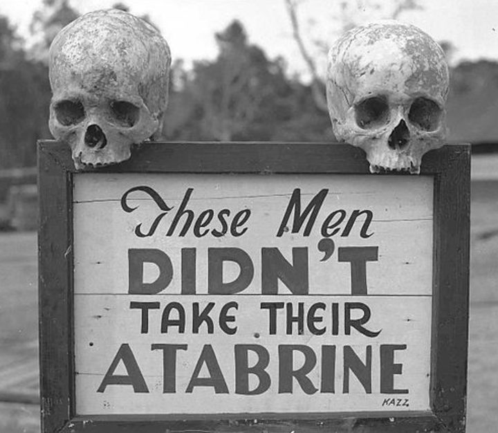 Atabrine advertisement in Guinea during WW2