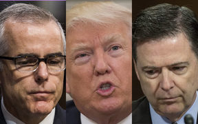 From left, Andrew McCabe, Donald Trump and James Comey.