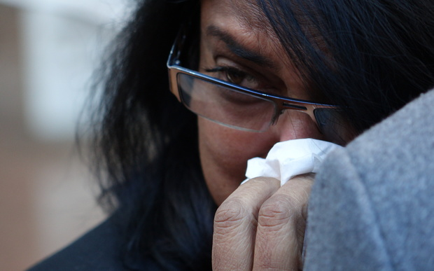 Arun Kumar's wife Anita Kumar outside the High Court in Auckland after the jury's verdict.